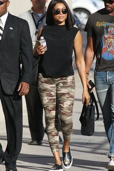 How to Wear Leggings as Pants and Not Look Tacky - Leggings Black - Ideas of Leggings Black - Camo leggings black muscle T and leather slip on sneaks! Grey Camo Pants, Camo Leggings Outfit, Camoflauge Pants, How To Wear Leggings, Camo Outfits, Legging Outfits, Leggings Are Not Pants, Casual Outfits, Summer Outfits