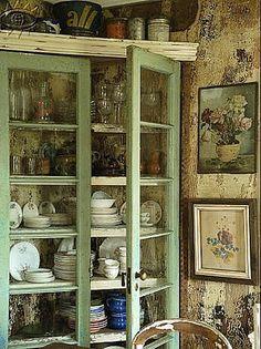 Beautiful glass door cabinet.
