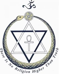 Does the emblem of the Theosophical Society blow your mind? Egyptian ankh inside a hexagram (the inside an ouroboros kissing a swastika with the Hindi om on top. Spiritual Symbols, Religious Symbols, Ancient Symbols, Alchemy Symbols, Illuminati, Der Klang Des Herzens, Theosophical Society, Yi King, Ouroboros