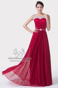 Uzun abiye elbise kırmızı kolsuz dantelli