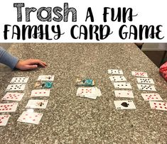 Trash is a fun family card game. It is easy to learn and fun to play. Kids as young as ten years old can learn how to play! Trash is a fun family card game. It is easy to learn and fun to play. Kids as young as ten years old can learn how to … Family Card Games, Fun Card Games, Card Games For Kids, Best Card Games, Fun Family Board Games, Best Family Games, Group Card Games, Games To Play With Kids, Playing Card Games