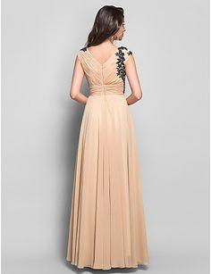 vestido largo de gasa apliques de noche vaina / columna v-cuello (612415) – MXN $ 1,183.53