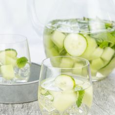 Cucumber Melon Sangria Recipe Cocktails, Beverages with dry white wine, gin, superfine sugar, honeydew melon, seedless cucumber, fresh mint, carbonated water