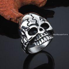 Hot Silver Tone Motorcycles Men 316L Stainless Steel Skull Biker Ring Size 8-12