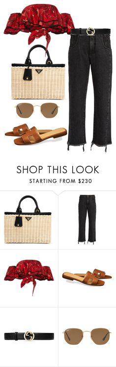 """""""Untitled #2316"""" by andreagm ❤ liked on Polyvore featuring Prada, Rachel Comey, Johanna Ortiz, Gucci and Ray-Ban"""
