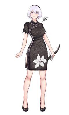 Beautiful chi-pao of Nier Automata art Girls Characters, Female Characters, Anime Characters, Female Character Design, Game Character, Arte Dark Souls, Mode Cyberpunk, Poses References, Anime Sexy