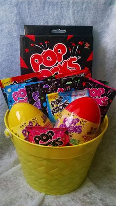 Pop Rocks Candy Gift Basket from Connie's Creations Craft Stick Crafts, Craft Gifts, Diy Gifts, Candy Gift Baskets, Candy Gifts, Baby Shower Baskets, Candy Theme, Relationship Gifts, Bulk Candy