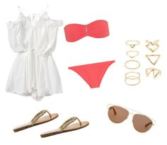 """""""Beach Day"""" by hannahfleg ❤ liked on Polyvore featuring Melissa Odabash, G by Guess, Christian Dior and Forever 21"""