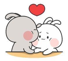 Nuomi Rabbit - Two Cute Cartoon Images, Cute Couple Cartoon, Cute Love Cartoons, Cute Love Pictures, Cute Love Gif, Cute Cat Gif, Kawaii Drawings, Cute Drawings, Animiertes Gif