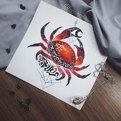 Garnet crab 🦀✨ #tattoo #tat #tattoosketch #crab #sketchcrab #calligraphy #watercolor