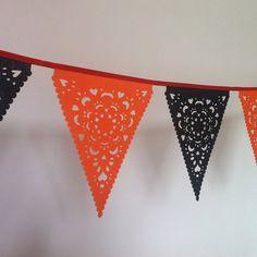 Halloween Garland Orange & Black lace fabric by BaloolahBunting, $40.00