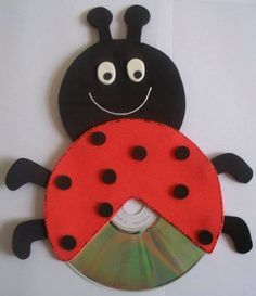Cd craft idea for kids cd lady bug craft Crafts With Cds, Kids Crafts, Old Cd Crafts, Bug Crafts, Daycare Crafts, Diy And Crafts, Arts And Crafts, Summer Camp Crafts, Camping Crafts