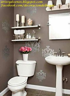 Small Bathroom Design Ideas In The Philippines to Very Small Bathroom Interior Design Ideas & Bathroom Sink Overflow while Bathroom Decor Nautical Downstairs Bathroom, Bathroom Wall Decor, Bath Decor, Bathroom Ideas, Bathroom Stencil, Bathroom Remodeling, Bathroom Interior, Bathroom Storage, Bathroom Sinks