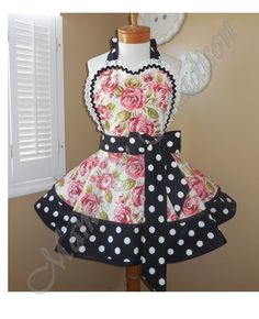 Rose Print Woman's Retro Apron Accented With Black and White Polka Dots, Featuring Lace Trimmed Heart Shaped Bib...Ready To Ship by mamamadison on Etsy