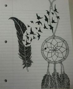 Feather and Dream catcher drawing. Want to try and draw this..