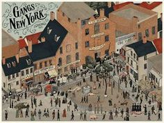 """Publicity or concept card for """"Gangs of NY"""". What would have been the Pirnie Distillery building is portrayed as a regular tenement (behind the houses on the left edge)."""