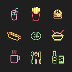 Neon Fastfood Icons. #neon #iconset  #fastfood #icons #illustration #design #outline #art #vector #graphic #graphicdesign #iconography #graphicdesignblg #graphicgang #graphicdesigncentral #thedesigntip #picame #illustree #iconaday #davegamez
