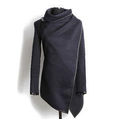 Fashionable Turtleneck Long Sleeve Asymmetric Coat For Women