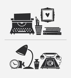 vinyl typewriter, phone, books. awesome