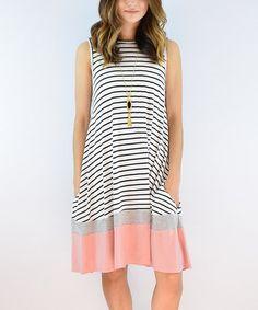 Another great find on #zulily! Dust Pink Stripe Shift Dress #zulilyfinds