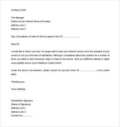 letter to discontinue services