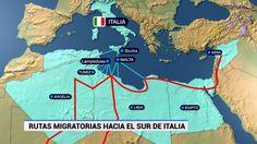 Es un otro foto que mira las rutas personas toma a inmigra a Italia