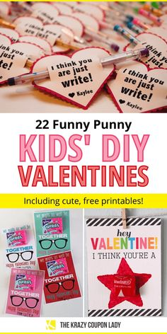 Looking for a DIY Valentine's Day craft idea for kids? The best Valentines are punny! Make your own funny DIY Valentine's Day cards using these genius Valentine's Day puns to get started.  #ValentinesDay #Valentinescards #valentinesforkids #diyvalentines