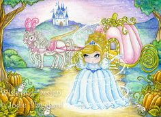 Cinderella princess painting, fairytale, kids wall art 5 x 7 inch print. $12.00, via Etsy.
