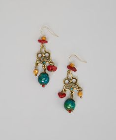 Take a look at this Turquoise & Red Bead Earrings by Treska on #zulily today!