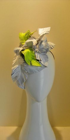 White and neon leather feathers for a bit of fun
