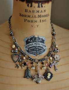 Collage-antique vintage french charm assemblage necklace.