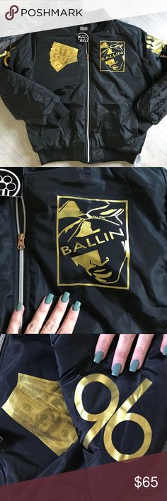 """NWT 2 PAC BOMBER JACKET """"ALL EYES ON ME"""" BRAND NEW 2 PAC BOMBER JACKET VARIOUS MENS SIZES """"ALL EYES ON ME"""" WITH GOLD FOIL LETTERING ships same or next day from my smoke free home.   PRICE is FIRM, offers will be considered through the offer button only. Bundle items to save. ✨   100% authentic black sheep Jackets & Coats Bomber & Varsity"""