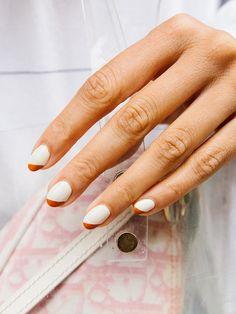 Short French Tip Nails, Short Round Nails, Reverse French Nails, French Tips, Color Block Nails, Solid Color Nails, Nail Colors, Round Tip Nails, Round Nail Designs