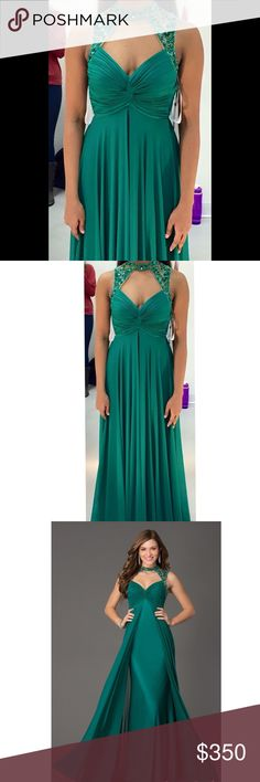 Sherri Hill Prom Dress Green Sherri Hill Prom Dress. Worn once, in great condition. It has a beautiful detailed necklace with an open back, and is very elegant! Hemmed to fit perfectly (without heels) for someone 5 ft and under. Sherri Hill Dresses Prom