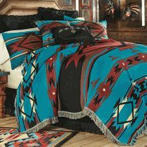 Turquoise Flame Tapestry Bedding Collection - LoneStar Western Decor