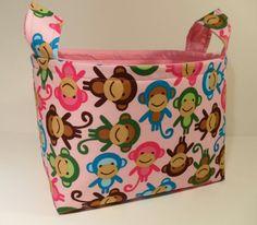Fabric Basket Organizer Bin Storage Container-Urban Zoologie-Monkeys on Pink with Pink Interior