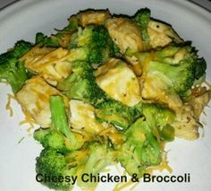 What you will need… --- 4 ounces chicken breast --- 1.5 cups steamed broccoli --- ½ cup low fat cheddar cheese --- ¼ cup water  What to do…  Just chop your already fully cooked chicken breast into cubes and place in small sauce-pan.  Add steamed broccoli, cheddar cheese and water.  Heat on medium-low until warm, and serve.