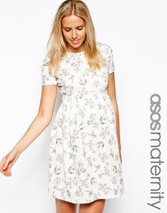 ASOS Maternity Skater Dress With Textured Bird Print