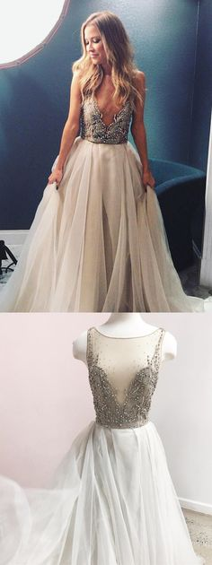 Spakly A-line Light Grey Tulle Long Bridal Gown Custom Bridesmaid Dresses Best Prom Dresses, Long Wedding Dresses, Mermaid Prom Dresses, Formal Evening Dresses, Elegant Dresses, Homecoming Dresses, Bridal Dresses, Prom Gowns, Flower Dresses