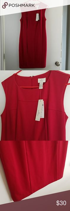 Chicos knit dress Fabulous red knit dress by chicos NWTs. Perfect condition. Secret slimming panels for flattering fit. Super comfy, stretchy and fully lined. Great basic. Color is truly red. Smoke free home. Chico's Dresses