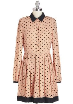 Best of Flock Dress - Blush, Black, Polka Dots, Pleats, Work, Casual, A-line, Long Sleeve, Woven, Better, Collared, Mid-length, Buttons