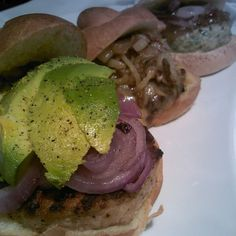 ... caramelized onion, and shrimp and scallop burger with mango chutney