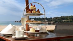 Indulge in delicious afternoon tea on St Brelade's Bay at L'Horizon Beach Hotel & Spa in Jersey, Channel Islands