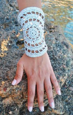 Silver crochet bracelet by WED.LAB