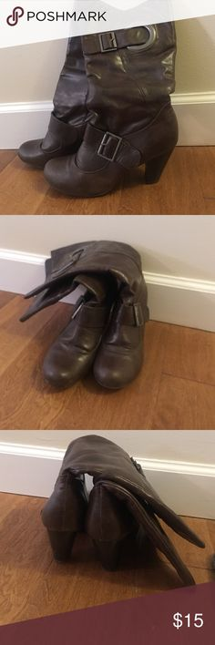 Brown boots Nicole size 7M and super cute! Faux leather with big buckle up top. Perfect heel height Nicole by Nicole Miller Shoes Heeled Boots