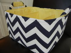 "Diaper Caddy(choose BASKET & LINING color) 12""x10""x6"" Two dividers-Fabric Storage Bin basket-Chevron-""Navy Blue/White-Zigzag. $47.99, via Etsy."