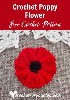 Free Crochet Poppy Flower Pattern at Crochet For You.