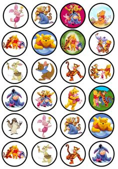 Afbeeldingsresultaat voor winnie the pooh printable cupcake Winnie The Pooh Cake, Winnie The Pooh Birthday, Winnie The Pooh Friends, Bottle Cap Projects, Bottle Cap Crafts, Bottle Caps, Winie The Pooh, Free Friends, Bullet Journal Art