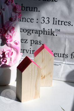 Huisjes met neon dakje van ensuus op Etsy