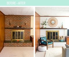 Before and After Home Reno Updates: 8 Months In Mid Century Modern Fireplace Makeover, Midcentury Modern Fireplace, Modern Mantle, Brick Fireplace Makeover, Old Fireplace, White Fireplace, Plywood Furniture, Design Furniture, Mid Century Modern Living Room
